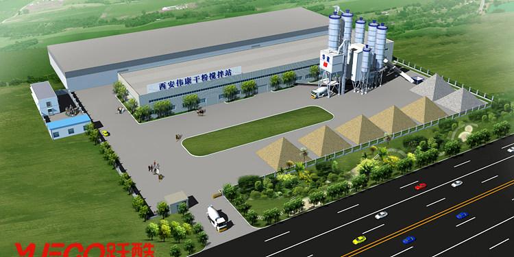 工业厂房鸟瞰效果图,化工厂俯视图制作,工厂透视图,图
